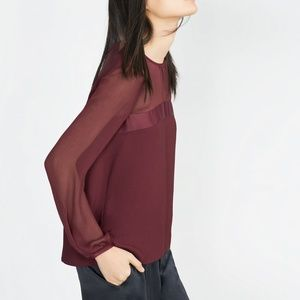 ZARA Combined maroon long sleeve blouse